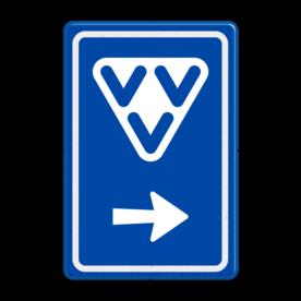 Aluminium informatiebord met een dubbel omgezette rand - Reflecterende opdruk: Aluminium informatiebord met een dubbel omgezette rand met print van tekst / pictogrammen in reflectieklasse 3 (incl. anti-graffiti laminaat). Basis: Blauw (Rand: RAL 5017 - blauw) Picto boven: Pictogram: VVV Picto onder: Pictogram: Pijl rechts. - Product eigenschappen: Ontwerpcode: bfcb7fAfmetingen: 400x600mmReflecterend: Klasse 3 [ maximaal ]Incl. anti-graffiti laminaat