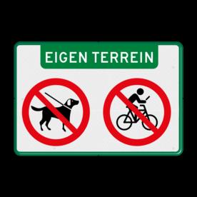 Aluminium informatiebord met een dubbel omgezette rand - Aluminium informatiebord met een dubbel omgezette rand met print van tekst / pictogrammen in reflectieklasse 3 (incl. anti-graffiti laminaat). Reflecterende opdruk: Basis: Wit / groene rand (Rand: RAL 6024 - groen) Banner: Pictogram: EIGEN TERREIN Verkeersteken links: Pictogram: Honden verboden Verkeersteken rechts: Pictogram: Appen verboden op de fiets.