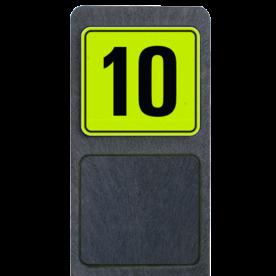 Bermpaal 1250x150x40mm met fluorescerend bordje 119x109mm - Bermpaal 1250x150x40mm met fluorescerend bordje 119x109mm met print van tekst / pictogrammen in reflectieklasse 3 (incl. anti-graffiti laminaat). Reflecterende opdruk: Basis: Geel-groen-Fluor met zwart (Rand: RAL 9017 - zwart) Tekstvlak: 10.