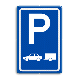 Aluminium informatiebord met een dubbel omgezette rand - Aluminium informatiebord met een dubbel omgezette rand met print van tekst / pictogrammen in reflectieklasse 3 (incl. anti-graffiti laminaat). Reflecterende opdruk: Basis: Blauw (Rand: RAL 5017 - blauw) Picto boven: Pictogram: Parkeren Picto onder: Pictogram: Auto met aanhangwagen (standaard).