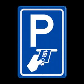 Aluminium informatiebord met een dubbel omgezette rand - Reflecterende opdruk: Aluminium informatiebord met een dubbel omgezette rand met print van tekst / pictogrammen in reflectieklasse 3 (incl. anti-graffiti laminaat). Basis: Blauw (Rand: RAL 5017 - blauw) Picto boven: Pictogram: Parkeren Picto onder: Pictogram: Betaald parkeren met pas. - Product eigenschappen: Ontwerpcode: cd2f62Afmetingen: 400x600mmReflecterend: Klasse 3 [ maximaal ]Incl. anti-graffiti laminaat
