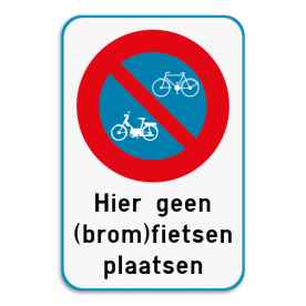 Aluminium bord omgeplooide rand met gelaste profielen - Reflecterende opdruk: Aluminium bord omgeplooide rand met gelaste profielen met print van tekst / pictogrammen in reflectieklasse 3 (incl. anti-graffiti laminaat). Basis: basisbord 2:3 blauw/wit (Rand: RAL 5017 - blauw) Verkeersteken: Pictogram: E1 fiets en bromfiets Tekstvlak: Hier geen (brom)fietsen plaatsen. - Product eigenschappen: Ontwerpcode: cdd6b7Afmetingen: 400x600mmReflecterend: Klasse 3 [ maximaal ]Uitvoering: Omgeplooide randIncl. anti-graffiti laminaat