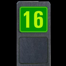 Bermpaal 1250x150x40mm met fluorescerend bordje 119x109mm - Reflecterende opdruk: Bermpaal 1250x150x40mm met fluorescerend bordje 119x109mm met print van tekst / pictogrammen in reflectieklasse 3 (incl. anti-graffiti laminaat). Basis: Groen - Gl-Gr-Fluor (Rand: Fluor geel/groen) Tekstvlak: 16. - Product eigenschappen: Ontwerpcode: cec7c6Afmetingen: 119x109mmReflecterend: Klasse 3 [ maximaal ]Uitvoering: Dubbelzijdig bedruktIncl. anti-graffiti laminaat