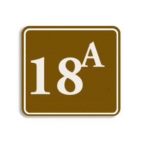 Huisnummerbord Alupanel 119x109mm - Reflecterende opdruk: Huisnummerbord Alupanel 119x109mm met print van tekst / pictogrammen in reflectieklasse 3 (incl. anti-graffiti laminaat). Basis: Bruin (Rand: RAL 8002 - bruin) kaderrand: Pictogram: Kaderrand Tekstvlak: 18a. - Product eigenschappen: Ontwerpcode: cf3638Afmetingen: 119x109mmReflecterend: Klasse 3 [ maximaal ]Incl. anti-graffiti laminaat
