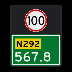 Aluminium hectometerbord met een dubbel omgezette rand - Aluminium hectometerbord met een dubbel omgezette rand met print van tekst / pictogrammen in reflectieklasse 3 (incl. anti-graffiti laminaat). Reflecterende opdruk: Basis: N-3 nummers (Rand: RAL 6024 - groen) Tekstvlak: 100 Tekstvlak: N292 Tekstvlak: 567,8.