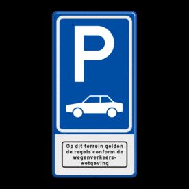 Aluminium informatiebord met een dubbel omgezette rand - Aluminium informatiebord met een dubbel omgezette rand met print van tekst / pictogrammen in reflectieklasse 3 (incl. anti-graffiti laminaat). Reflecterende opdruk: Basis: Blauw (Rand: RAL 5017 - blauw) Picto boven: Pictogram: Parkeren Picto midden: Pictogram: Auto (standaard) Picto onder: Pictogram: Op dit terrein gelden de regels conform wegenverkeerswetgeving.