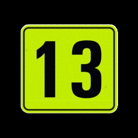 Huisnummerbord Alupanel 119x109 - Reflecterende opdruk: Huisnummerbord Alupanel 119x109 met print van tekst / pictogrammen in reflectieklasse 3 (incl. anti-graffiti laminaat). Basis: Geel-groen-Fluor met zwart (Rand: RAL 9017 - zwart) Tekstvlak: 13. - Product eigenschappen: Ontwerpcode: d2a2e6Afmetingen: 119x109mmReflecterend: Klasse 3 [ maximaal ]Incl. anti-graffiti laminaat