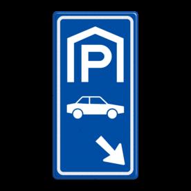 Aluminium informatiebord met een dubbel omgezette rand - Reflecterende opdruk: Aluminium informatiebord met een dubbel omgezette rand met print van tekst / pictogrammen in reflectieklasse 3 (incl. anti-graffiti laminaat). Basis: Blauw (Rand: RAL 5017 - blauw) Picto boven: Pictogram: Parkeren overdekt Picto midden: Pictogram: Auto (gespiegeld) Picto onder: Pictogram: Pijl rechts onder. - Product eigenschappen: Ontwerpcode: d77b1cAfmetingen: 400x800mmReflecterend: Klasse 3 [ maximaal ]Incl. anti-graffiti laminaat