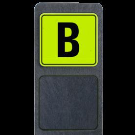 Bermpaal 1250x150x40mm met fluorescerend bordje 119x109mm - Reflecterende opdruk: Bermpaal 1250x150x40mm met fluorescerend bordje 119x109mm met print van tekst / pictogrammen in reflectieklasse 3 (incl. anti-graffiti laminaat). Basis: Geel-groen-Fluor met zwart (Rand: RAL 9017 - zwart) Tekstvlak: B. - Product eigenschappen: Ontwerpcode: d83031Afmetingen: 119x109mmReflecterend: Klasse 3 [ maximaal ]Incl. anti-graffiti laminaat