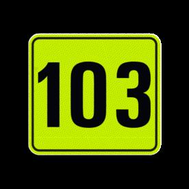 Huisnummerbord Alupanel 119x109 - Huisnummerbord Alupanel 119x109 met print van tekst / pictogrammen in reflectieklasse 3 (incl. anti-graffiti laminaat). Reflecterende opdruk: Basis: Geel-groen-Fluor met zwart (Rand: RAL 9017 - zwart) Tekstvlak: 103.