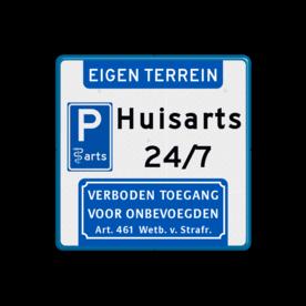 Aluminium informatiebord met een dubbel omgezette rand - Reflecterende opdruk: Aluminium informatiebord met een dubbel omgezette rand met print van tekst / pictogrammen in reflectieklasse 3 (incl. anti-graffiti laminaat). Basis: Wit / blauwe rand (Rand: RAL 5017 - blauw) Koptekst: Pictogram: EIGEN TERREIN (banner) Picto links-midden: Pictogram: E08arts Tekstvlak: Huisarts 24/7 Ondertekst: Pictogram: 1. Verboden toegang Art. 461. - Product eigenschappen: Ontwerpcode: dc1bb1Afmetingen: 400x400mmReflecterend: Klasse 3 [ maximaal ]Uitvoering: Dubbel omgezette randIncl. anti-graffiti laminaat