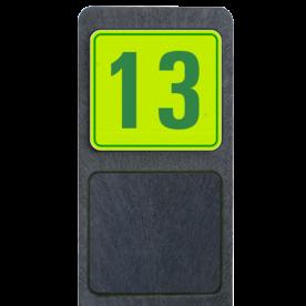 Bermpaal 1250x150x40mm met fluorescerend bordje 119x109mm - Bermpaal 1250x150x40mm met fluorescerend bordje 119x109mm met print van tekst / pictogrammen in reflectieklasse 3 (incl. anti-graffiti laminaat). Reflecterende opdruk: Basis: Geel-groen-Fluor met groen (Rand: RAL 6024 - groen) Tekstvlak: 13.