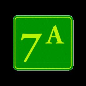 Huisnummerbord Alupanel 119x109 - Reflecterende opdruk: Huisnummerbord Alupanel 119x109 met print van tekst / pictogrammen in reflectieklasse 3 (incl. anti-graffiti laminaat). Basis: Groen - Gl-Gr-Fluor (Rand: Fluor geel/groen) Tekstvlak: 7-A. - Product eigenschappen: Ontwerpcode: dcb7b4Afmetingen: 119x109mmReflecterend: Klasse 3 [ maximaal ]Incl. anti-graffiti laminaat