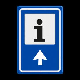 Aluminium informatiebord met een dubbel omgezette rand - Reflecterende opdruk: Aluminium informatiebord met een dubbel omgezette rand met print van tekst / pictogrammen in reflectieklasse 3 (incl. anti-graffiti laminaat). Basis: Blauw (Rand: RAL 5017 - blauw) Picto bovenin: Pictogram: OR061 Informatiepunt Pijl: Pictogram: Pijl rechtdoor. - Product eigenschappen: Ontwerpcode: ddf7d3Afmetingen: 400x600mmReflecterend: Klasse 3 [ maximaal ]Uitvoering: Dubbel omgezette randIncl. anti-graffiti laminaat