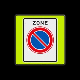 Aluminium informatiebord met een dubbel omgezette rand - Reflecterende opdruk: Aluminium informatiebord met een dubbel omgezette rand met print van tekst / pictogrammen in reflectieklasse 3 (incl. anti-graffiti laminaat). Basis: Fluor geel-groen / zwarte rand (Rand: RAL 9017 - zwart) Picto: Pictogram: E01zb ZONE parkeerverbod. - Product eigenschappen: Ontwerpcode: dfdfc6Afmetingen: 600x600mmReflecterend: Klasse 3 [ maximaal ]Uitvoering: Dubbel omgezette randIncl. anti-graffiti laminaat