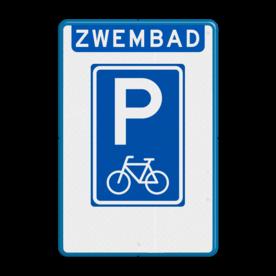 Aluminium informatiebord met een dubbel omgezette rand - Reflecterende opdruk: Aluminium informatiebord met een dubbel omgezette rand met print van tekst / pictogrammen in reflectieklasse 3 (incl. anti-graffiti laminaat). Basis: Wit / blauwe rand (Rand: RAL 5017 - blauw) Koptekst: Pictogram: Banner (eigen tekst): ZWEMBAD Verkeersteken: Pictogram: E08f - fietsparkeren. - Product eigenschappen: Ontwerpcode: e0971eAfmetingen: 400x600mmReflecterend: Klasse 3 [ maximaal ]Uitvoering: Dubbel omgezette randIncl. anti-graffiti laminaat