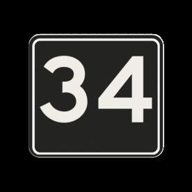 Huisnummerbord Alupanel 119x109mm - Huisnummerbord Alupanel 119x109mm met print van tekst / pictogrammen in reflectieklasse 3 (incl. anti-graffiti laminaat). Reflecterende opdruk: Basis: Zwart (Rand: RAL 9017 - zwart) kaderrand: Pictogram: Kaderrand Tekstvlak: 34.
