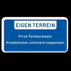 Aluminium informatiebord met een dubbel omgezette rand - Reflecterende opdruk: Aluminium informatiebord met een dubbel omgezette rand met print van tekst / pictogrammen in reflectieklasse 1 (incl. anti-graffiti laminaat). Basis: Blauwe rand / Blauw front (Rand: RAL 5017 - blauw) Banner: Pictogram: EIGEN TERREIN Tekstvlak: Privé Parkeerplaats Hulpdiensten uiteraard toegestaan. - Product eigenschappen: Ontwerpcode: e11b35Afmetingen: 300x150mmReflecterend: Klasse 1 [ minimaal ]Uitvoering: Dubbel omgezette randIncl. anti-graffiti laminaat