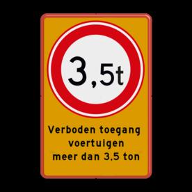 Aluminium informatiebord met een dubbel omgezette rand - Aluminium informatiebord met een dubbel omgezette rand met print van tekst / pictogrammen in reflectieklasse 1 (incl. anti-graffiti laminaat). Reflecterende opdruk: Basis: Fluor geel / rode rand (Rand: RAL 3020 - rood) Verkeersteken: Pictogram: C21 - Gesloten voor te zware voertuigen: 3,5 Tekstvlak: Verboden toegang voertuigen meer dan 3,5 ton.