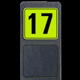 Bermpaal 1250x150x40mm met fluorescerend bordje 119x109mm - Bermpaal 1250x150x40mm met fluorescerend bordje 119x109mm met print van tekst / pictogrammen in reflectieklasse 3 (incl. anti-graffiti laminaat). Reflecterende opdruk: Basis: Geel-groen-Fluor met zwart (Rand: RAL 9017 - zwart) Tekstvlak: 17.