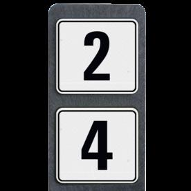 Bermpaal 1250x150x40mm met twee reflecterende bordjes 119x109mm - Bermpaal 1250x150x40mm met twee reflecterende bordjes 119x109mm met print van tekst / pictogrammen in reflectieklasse 3 (incl. anti-graffiti laminaat). Reflecterende opdruk: Basis: Wit (Rand: RAL 9016 - wit) Kader boven: Pictogram: Kaderrand Tekstvlak: 2 Kader onder: Pictogram: Kaderrand Tekstvlak: 4.