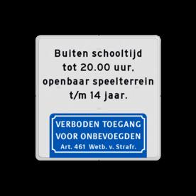Aluminium informatiebord met een dubbel omgezette rand - Reflecterende opdruk: Aluminium informatiebord met een dubbel omgezette rand met print van tekst / pictogrammen in reflectieklasse 1 (incl. anti-graffiti laminaat). Basis: Wit / witte rand (Rand: RAL 9016 - wit) Tekstvlak: Buiten schooltijd tot 20.00 uur, openbaar speelterrein t/m 14 jaar. Pictogram onder: Pictogram: 1. Verboden toegang Art. 461. - Product eigenschappen: Ontwerpcode: f0efceAfmetingen: 400x400mmReflecterend: Klasse 1 [ minimaal ]Uitvoering: Dubbel omgezette randIncl. anti-graffiti laminaat