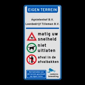 Aluminium informatiebord met een dubbel omgezette rand - Reflecterende opdruk: Aluminium informatiebord met een dubbel omgezette rand met print van tekst / pictogrammen in reflectieklasse 1 (incl. anti-graffiti laminaat). Basis: Wit / blauwe rand (Rand: RAL 5017 - blauw) Banner: Pictogram: EIGEN TERREIN Tekstvlak: Agnietenhof B.V. Loonbedrijf Tilleman B.V. Gekleurde balk: Pictogram: Deelstreep blauw Picto 1: Pictogram: Ruiter te paard Picto 2: Pictogram: Honden aan de lijn toegestaan Picto 3: Pictogram: Verboden afval weg te gooien Tekstvlak: matig uw snelheid Tekstvlak: niet uitlaten Tekstvlak: afval in de afvalbakken Pictogram rechtsonderin: Pictogram: Camerabewaking Pictogram linksonderin: Pictogram: Het betreden van dit terrein geschiedt op eigen risico. - Product eigenschappen: Ontwerpcode: f138acAfmetingen: 300x600mmReflecterend: Klasse 1 [ minimaal ]Uitvoering: Dubbel omgezette randIncl. anti-graffiti laminaat