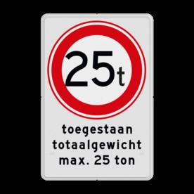 Aluminium informatiebord met een dubbel omgezette rand - Reflecterende opdruk: Aluminium informatiebord met een dubbel omgezette rand met print van tekst / pictogrammen in reflectieklasse 1 (incl. anti-graffiti laminaat). Basis: Wit / witte rand (Rand: RAL 9016 - wit) Verkeersteken: Pictogram: C21 - Gesloten voor te zware voertuigen: 25 Tekstvlak: toegestaan totaalgewicht max. 25 ton. - Product eigenschappen: Ontwerpcode: f6d41aAfmetingen: 300x450mmReflecterend: Klasse 1 [ minimaal ]Uitvoering: Dubbel omgezette randIncl. anti-graffiti laminaat