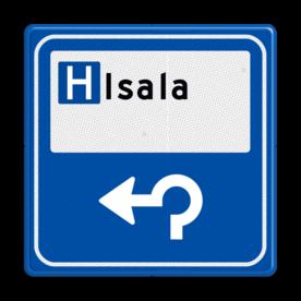 Aluminium informatiebord met een dubbel omgezette rand - Aluminium informatiebord met een dubbel omgezette rand met print van tekst / pictogrammen in reflectieklasse 3 (incl. anti-graffiti laminaat). Reflecterende opdruk: Basis: Blauw (Rand: RAL 5017 - blauw) P-picto: Pictogram: Ziekenhuis Tekstvlak: Isala Pijl: Pictogram: Rotondepijl links.