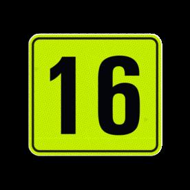 Huisnummerbord Alupanel 119x109 - Reflecterende opdruk: Huisnummerbord Alupanel 119x109 met print van tekst / pictogrammen in reflectieklasse 3 (incl. anti-graffiti laminaat). Basis: Geel-groen-Fluor met zwart (Rand: RAL 9017 - zwart) Tekstvlak: 16. - Product eigenschappen: Ontwerpcode: fc78d7Afmetingen: 119x109mmReflecterend: Klasse 3 [ maximaal ]Incl. anti-graffiti laminaat