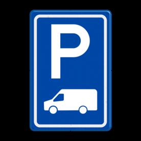Aluminium informatiebord met een dubbel omgezette rand - Aluminium informatiebord met een dubbel omgezette rand met print van tekst / pictogrammen in reflectieklasse 3 (incl. anti-graffiti laminaat). Reflecterende opdruk: Basis: Blauw (Rand: RAL 5017 - blauw) Picto boven: Pictogram: Parkeren Picto onder: Pictogram: Transporter bus (standaard).