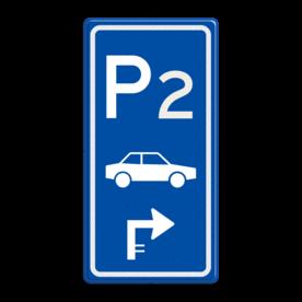 Aluminium informatiebord met een dubbel omgezette rand - Reflecterende opdruk: Aluminium informatiebord met een dubbel omgezette rand met print van tekst / pictogrammen in reflectieklasse 3 (incl. anti-graffiti laminaat). Basis: Blauw (Rand: RAL 5017 - blauw) Picto boven: Pictogram: Parkeerplaats met nummer: 2 Picto midden: Pictogram: Auto (gespiegeld) Picto onder: Pictogram: Pijl 2e rechts haaks. - Product eigenschappen: Ontwerpcode: fe7fdbAfmetingen: 400x800mmReflecterend: Klasse 3 [ maximaal ]Incl. anti-graffiti laminaat