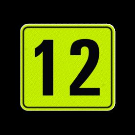 Huisnummerbord Alupanel 119x109 - Reflecterende opdruk: Huisnummerbord Alupanel 119x109 met print van tekst / pictogrammen in reflectieklasse 3 (incl. anti-graffiti laminaat). Basis: Geel-groen-Fluor met zwart (Rand: RAL 9017 - zwart) Tekstvlak: 12. - Product eigenschappen: Ontwerpcode: fec950Afmetingen: 119x109mmReflecterend: Klasse 3 [ maximaal ]Incl. anti-graffiti laminaat