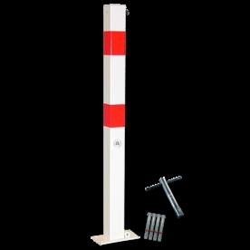 Antiparkeerpaal 70x70mm rood/wit, NEERKLAPBAAR - bodemmontage driekant, sleutel, brandweerpaal, parkeren, anti-parkeerpaal, parkeren, rood-witte paal, verboden te parkeren, parkeerbeugel, klappaal, klap paal, trottoirpaal, geen parkeerplaats, niet parkeren