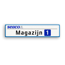 Informatiebord 700x150x28 mm - SEACO Groep BV Van der Kamp, betonmortel, logo, pijlbord