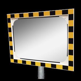 Veiligheidsspiegel geel/zwart 800x600mm met extra opvallende rand Jislon, verkeerspiegel, veiligheidspiegel, veiligheidsspiegel, buitenspiegel, magazijnspiegel, industriespiegel, rechthoek