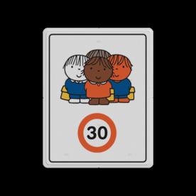Dick Bruna - Attentiebord Snelheid - groepje kinderen - Multicultureel Nijntje, schoolzone, vvn, a1-30, Miffy, snelheid, maximale snelheid, 30 kilometer