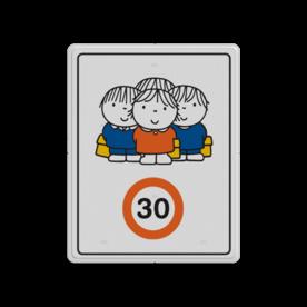 Dick Bruna - Attentiebord Snelheid - groepje kinderen Nijntje, schoolzone, vvn, a1-30, Miffy, 30  kilometer, maximale snelheid