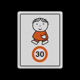 Dick Bruna - Attentiebord Snelheid - joep Nijntje, schoolzone, vvn, a1-30, Miffy, 30 kilometer, snelheid