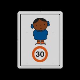 Dick Bruna - Attentiebord Snelheid - meisje met strikjes - Multicultureel Nijntje, schoolzone, vvn, a1-30, maximum snelheid, Miffy, 30 kilometer