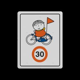 Dick Bruna - Attentiebord Snelheid - op de fiets Nijntje, schoolzone, vvn, a1-30, maximum snelheid, 30 kilometer, Miffy