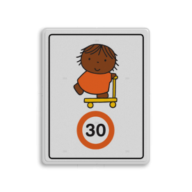 Dick Bruna - Attentiebord Snelheid - joep op de step - Multicultureel Nijntje, schoolzone, vvn, a1-30, maximum snelheid, 30 kilometer, Miffy