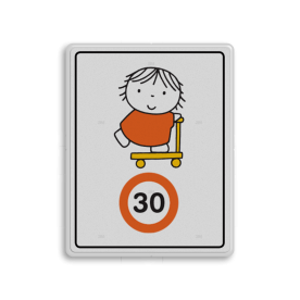 Dick Bruna - Attentiebord Snelheid - joep op de step Nijntje, schoolzone, vvn, a1-30, maximum snelheid, 30 kilometer, Miffy