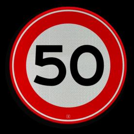Verkeersbord Maximum toegestane snelheid 50 kilometer per uur Verkeersbord RVV A01-050 - Maximum snelheid 50 km/h A01-050 50 kilometer per uur, 50 jaar, jubileum, bord in tuin, snelhiedsbord, snelheidbord, 50 km bord, snelheid, zonebord, a1