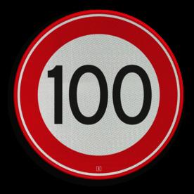 Verkeersbord Maximum toegestane snelheid 100 kilometer per uur Verkeersbord RVV A01-100 - Maximum snelheid 100 km/h A01-100 snelhiedsbord, snelheidbord, 100 km bord, snelheid, zonebord, einde, 100 km per uur, A1