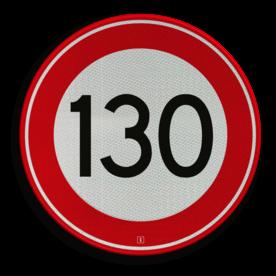 Verkeersbord Maximum toegestane snelheid 130 kilometer per uur Verkeersbord RVV A01-130 - Maximum snelheid 130 km/h A01-130 snelhiedsbord, snelheidbord, 100 km bord, snelheid, zonebord, einde, 100 km per uur, A1