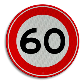 Verkeersbord Maximum toegestane snelheid 60 kilometer per uur Verkeersbord RVV A01-060 - Maximum snelheid 60 km/h A01-060 60 kilometer per uur, 60 jaar, jubileum, bord in tuin, snelhiedsbord, snelheidbord, 60 km bord, snelheid, zonebord, a1, maximalesnelheid, maximale snelheid, maximumsnelheid, maximum snelheid