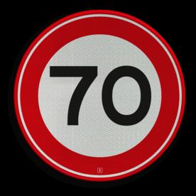 Verkeersbord Maximum toegestane snelheid 70 kilometer per uur Verkeersbord RVV A01-070 - Maximum snelheid 70 km/h A01-070 snelhiedsbord, snelheidbord, 70 km bord, snelheid, zonebord, einde, 70 km per uur, A1