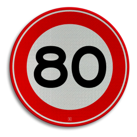 Verkeersbord Maximum toegestane snelheid 80 kilometer per uur Verkeersbord RVV A01-080 - Maximum snelheid 80 km/h A01-080 snelhiedsbord, snelheidbord, 80 km bord, snelheid, zonebord, einde, 80 km per uur, A1