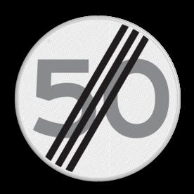 Verkeersbord Einde maximum toegestane snelheid 50 kilometer per uur Verkeersbord RVV A02-00 vrij invoerbaar - Einde maximum snelheid 50 km/h A02-050 snelhiedsbord, snelheidbord, km bord, snelheid, zonebord, einde, km per uur, einde, A2